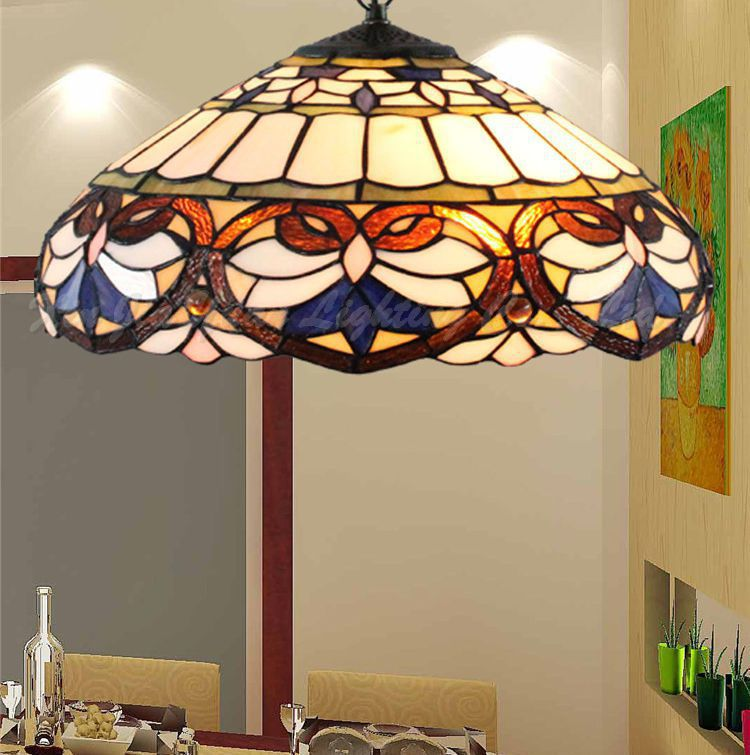 16inch Tiffany Baroque Stained Glass Suspended Luminaire E27 110-240v Chain Pendant Lights For Home Parlor Dining Room