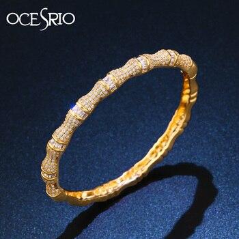 OCESRIO, nueva marca de lujo, bambú festival, pulseras de mujer doradas, cobre, Zirconia, pulseras de oro, joyería, 2020 brt-b01