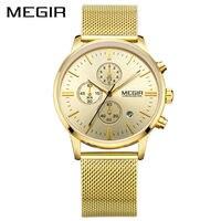 MEGIR Official Mens Formal Quartz Wrist Watches Chronograph Stainless Steel Mesh Band Waterproof Business Dress Calendar
