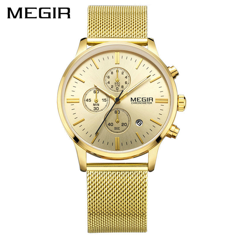 MEGIR Top Brand Luxury Watch Men Business Dress Chronograph Watches Reloj Hombre Clock Men Stainless Steel Mesh Relogio Saat 2016 top brand luxury men s watches men wristwatches stainless steel strap business dress watch reloj hombre time clock men