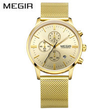 MEGIR Marca Top Relógio de Luxo Homens Vestido Negócios Relógios Reloj Hombre Relógio Cronógrafo Dos Homens de Malha de Aço Inoxidável Relogio Saat