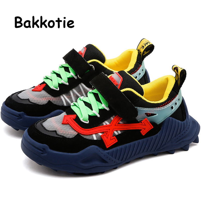 Bakkotie 2019 Kids Autumn Casual Shoes Baby Girls Fashion Genuine Leather Black Sneakers New Boys Breathable Sports Shoes
