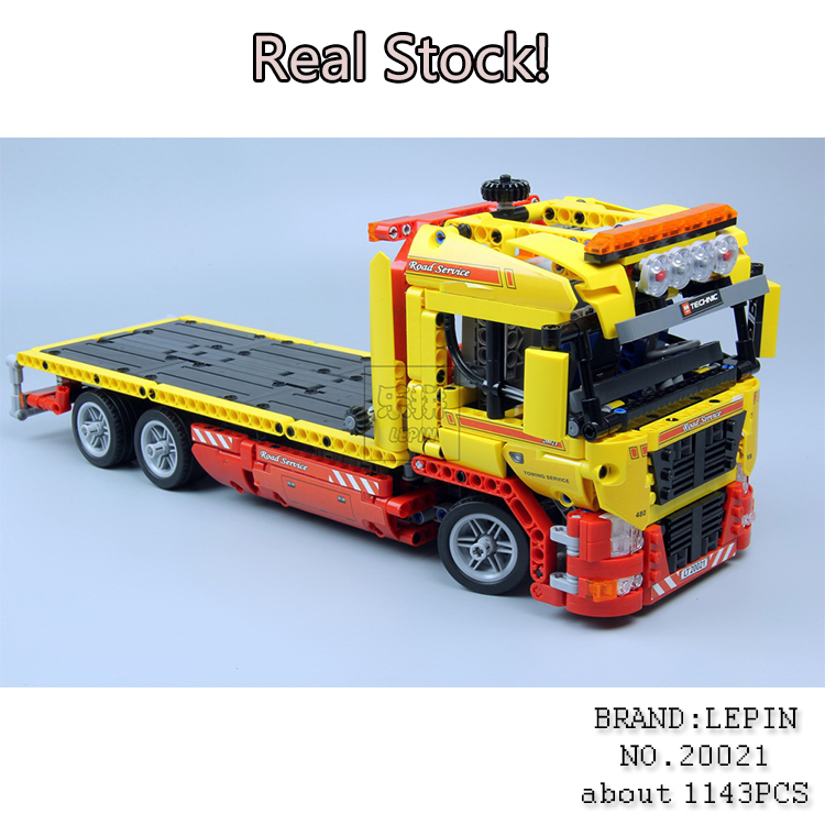 NEW LEPIN 20021 technic series 1143pcs Flatbed trailer Model Building blocks Bricks Compatible Toy Gift 8109 Educational Car new lp2k series contactor lp2k06015 lp2k06015md lp2 k06015md 220v dc