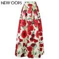 Nova oops mulheres long maxi saias floral rose imprimir plissada 2016 vintage cintura alta muçulmano flare saias saias femininas a1604037