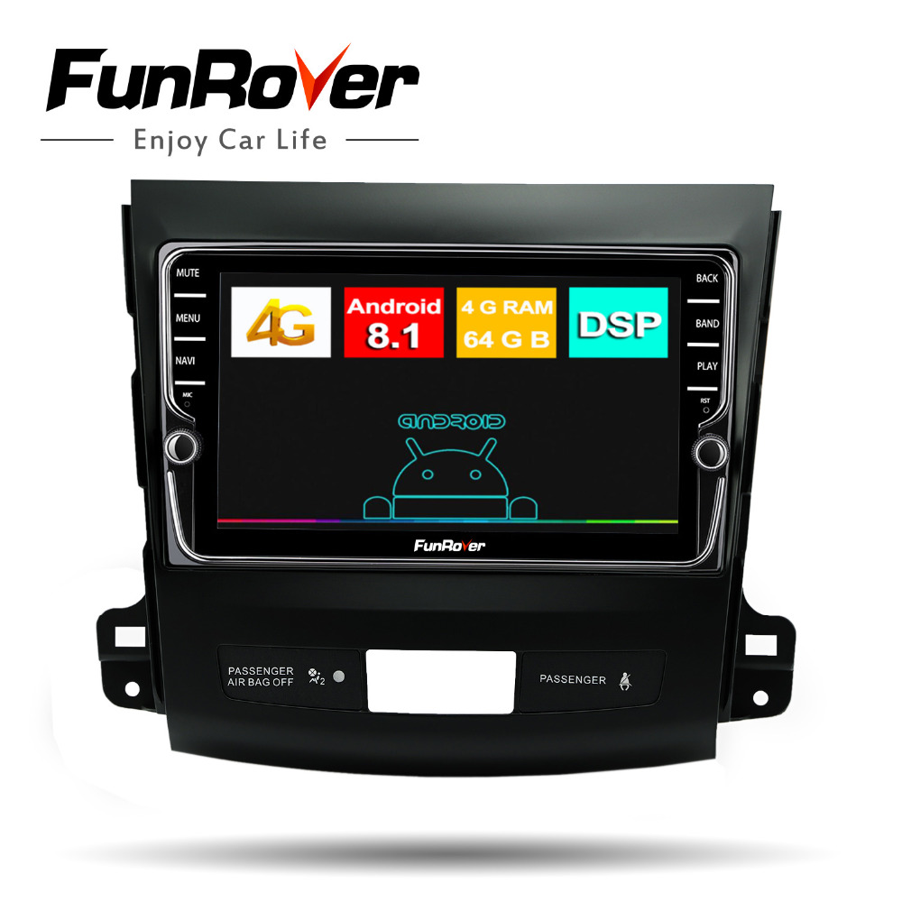 Funrover android 8.1 car dvd radio player for multimedia Mitsubishi Outlander2008-2014 for Peugeot 4007 Citroen Crosser IPS 4GB