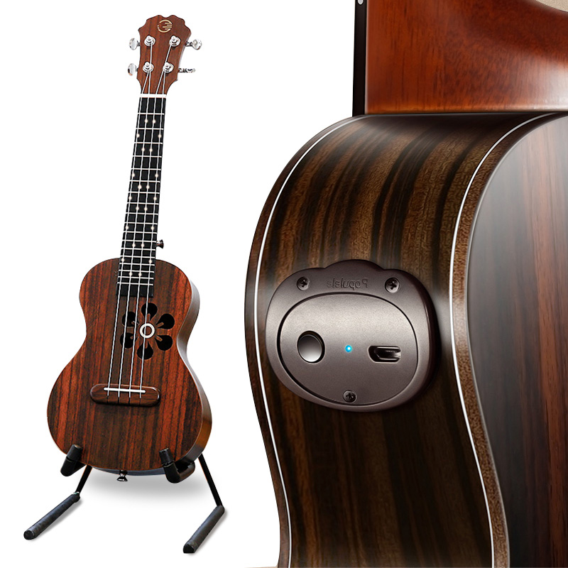 Populele S1 Acoustic Electric Smart Guitar Ukulele Soprano Bluetooth 23 Inch for Beginner 4 Strings Ukulele Guitar Accessories zebra professional 24 inch sapele black concert ukulele with rosewood fingerboard for beginner 4 stringed ukulele instrument