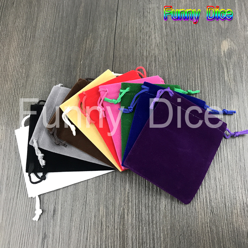 10pcs/set 10 Colors Board game Dice and Cards Bags for Jewelry Packing or Dice-collectong Drawstring  Pouches As Present