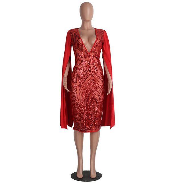 Sequin Cloak Sleeve Deep V-neck Bodycon Dress