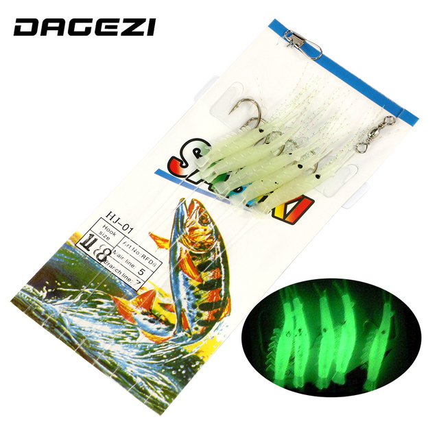 DAGEZI Soft Luminous shrimps New 5pcs/set   Fishing Lure  Luminous Shrimp Bait Jigs Lure soft lure Worm Fake lure 5 size