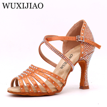 WUXIJIAO New bronze black satin Latin dance shoes ladies salsa rhinestone ballroom heel 5cm-10cm