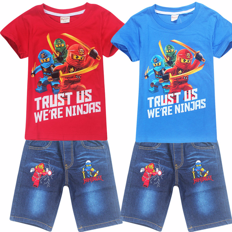 Boys T Shirt & Ninjago Short Jeans Children Sport Suits Camisetas Thomas train Clothing Roupas Infantis Menino Kids Clothes Sets