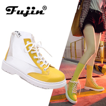 ce7c956aa Fujin 2019 New Arrival Transparent Rain Boots Women Waterproof Booties Boots  Water Jelly Shoes Lace Up