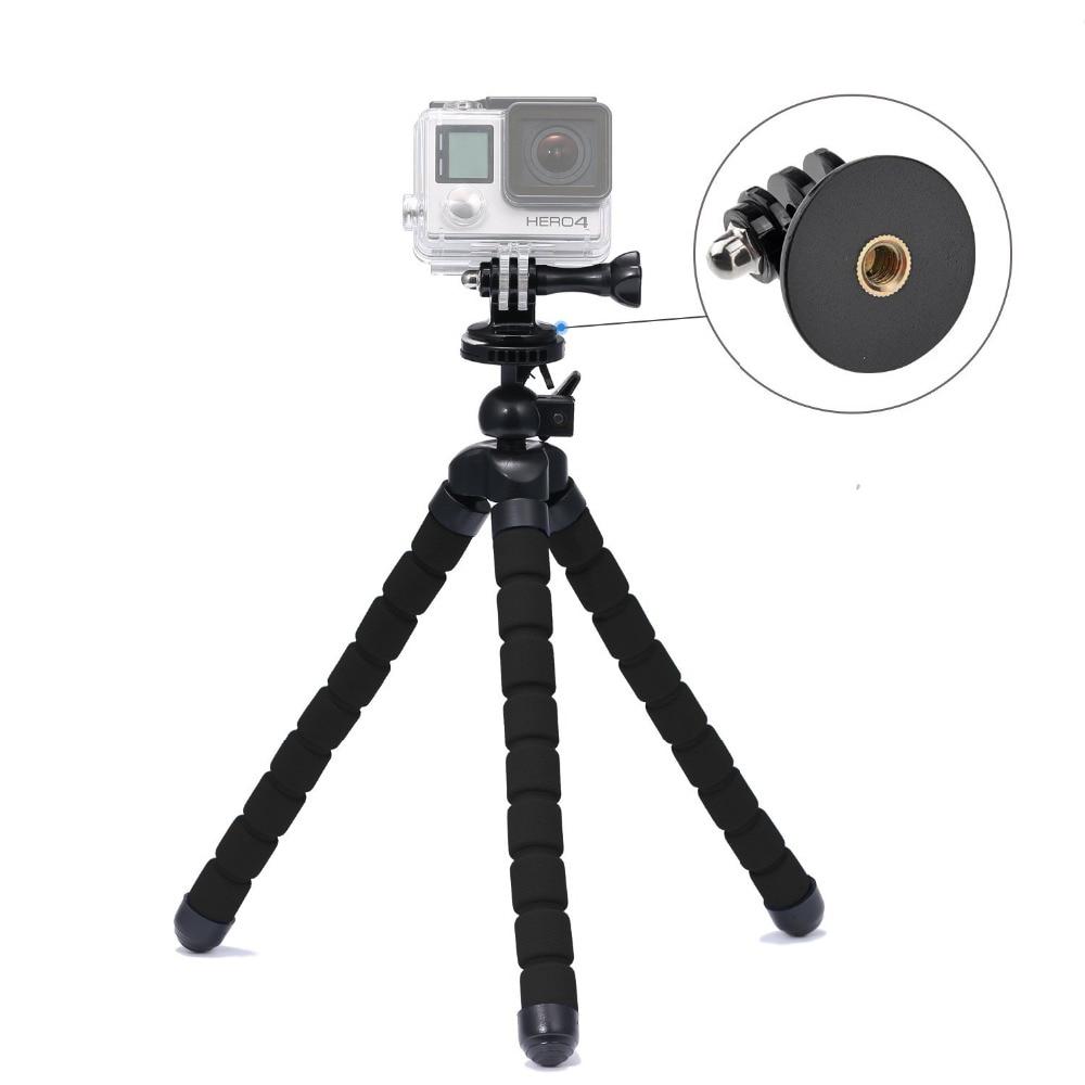 """유연한 삼각대 받침대 Gopro Hero 4S / 3 + / 3 / 2 / Sjcam 카메라 적색 - 검정색 용 삼각대 장착 어댑터가있는 10.6 """"홀더 포함"""