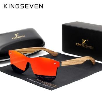 KINGSEVEN 2019 Polarized Square Sunglasses Men Women Zebra Wooden Frame Mirror Flat Lens Driving UV400 Eyewear 1