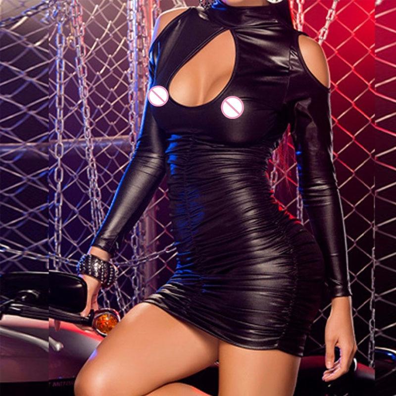 Dámské černé syntetické kůže s dlouhým rukávem s hlubokým výstřihem Bodycon Mini Sexy Zimní Bandage Dress vestido de festa