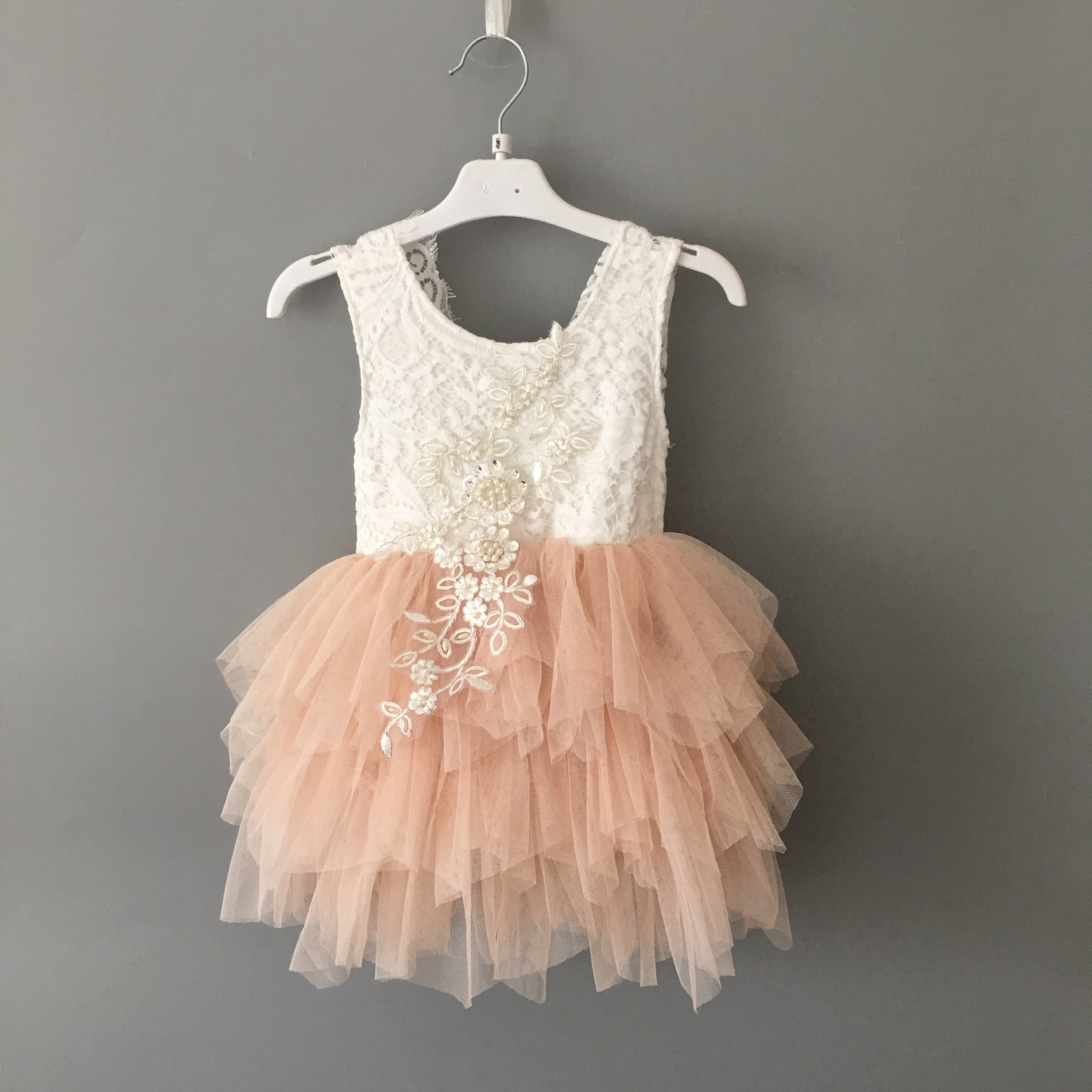 New Champagne color summer girls tutu dress for kids beautiful girls embroidery lace dresses toddler girls