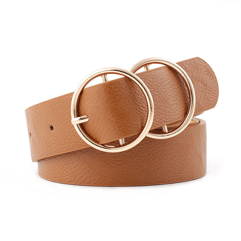 2019 New Luxury Brand Ladies White Black Brown Pink Wide Waist Belt Female Gold Double Round Metal Circle Belts For Women Jeans