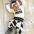 Recién nacido niños cartas y impreso traje Muchachos de Los Bebés que arropan Hola Mundo Tops Mameluco + Ciervos Pantalones Trajes Set ropa
