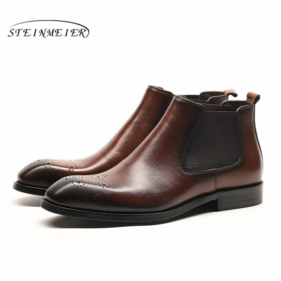 Men winter Boots Genuine cow leather chelsea boots brogue casual ankle flat shoes Comfortable quality soft 2019 black brown