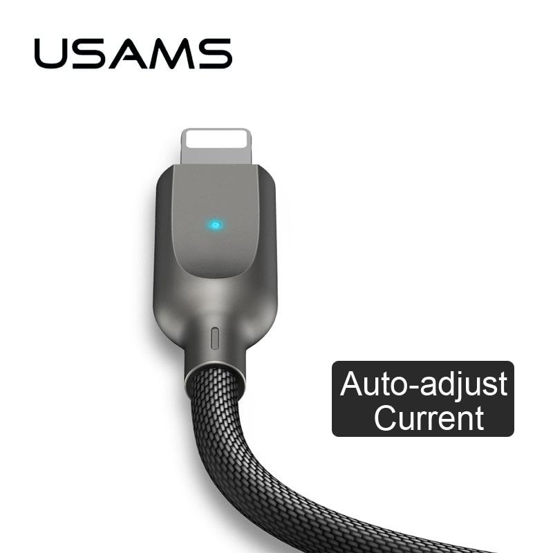 Auto desligar relâmpagos USB Cabo para iPhone x 8 7 6 ipad USAMS Cabo luz para iOS Telefone 11 10 9 Inteligente De Dados de Nylon linha