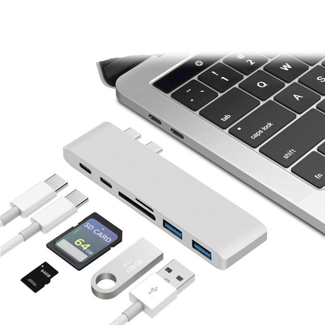 Reebeen 6 en 1 USB C HUB 4 K HD vidéo Audio câble adaptateur Type C vers HDMI usb 3.0/usb 2.0 avec lecteur de carte SD/TF Type C USB HUB