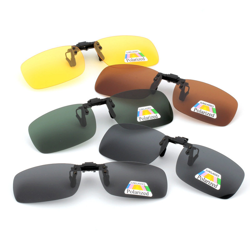 Clip On Sunglasses Polarized Driving Glasses Clip Up Clip-On Glasses Daytime Night Vision For Driving Fishing Cycling Walking