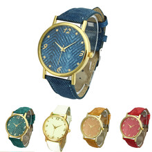 2edfef9934c6 Los hombres y las mujeres Denim correa de tela pulsera Unisex reloj  analógico de cuarzo Reloj sencillo relojes para dama niñas