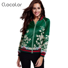 Clocolor Women jacket snowboard jacket basic Coats Floral Embroidery bomber jacket Flight Suit O Neck Fashion Bomber Jacket wome