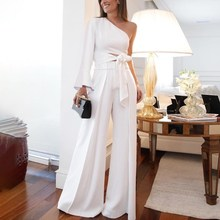 Elegant Office Lady High Waist Jumpsuit Female Casual Sashes Lace Up Wide Legs Rompers Sexy One Shoulder Long Sleeve Slim Party цена в Москве и Питере
