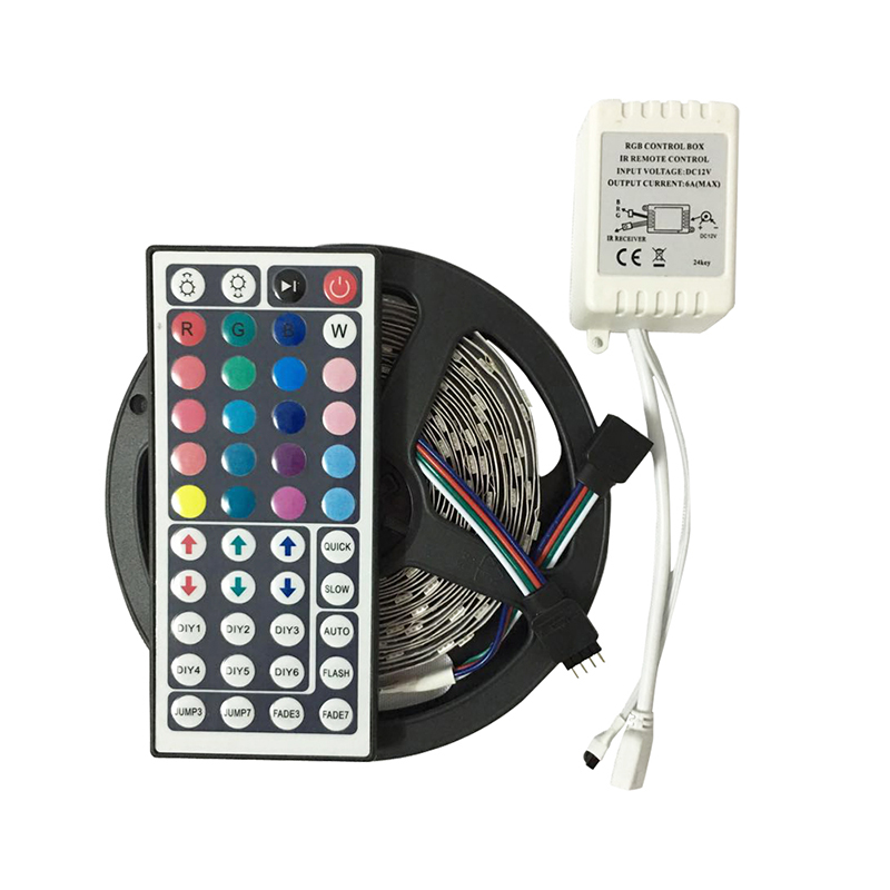 RGB LED Strip Light 5050 5M 30Leds/m led Tape No waterproof DC12V RGB 5050 LED Strip with 44Key Remote Controller