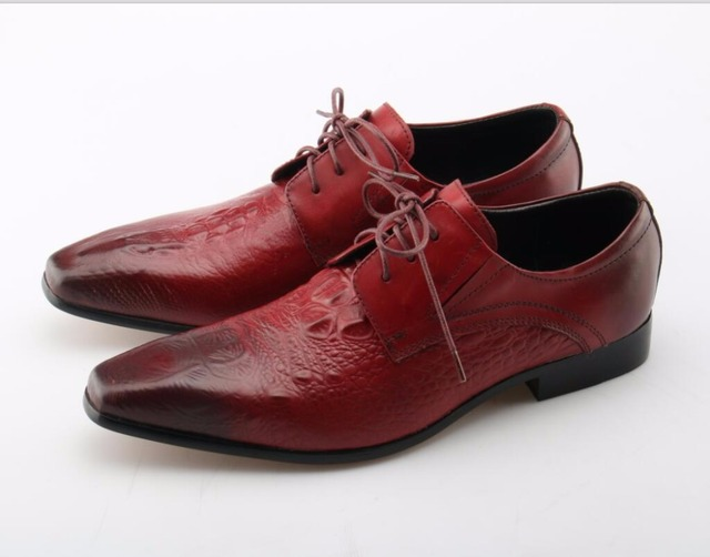 Eunice Choo Pleated Embossed Leather Red Derby Shoes Lace Up Office Suit Brush Color Men Dress