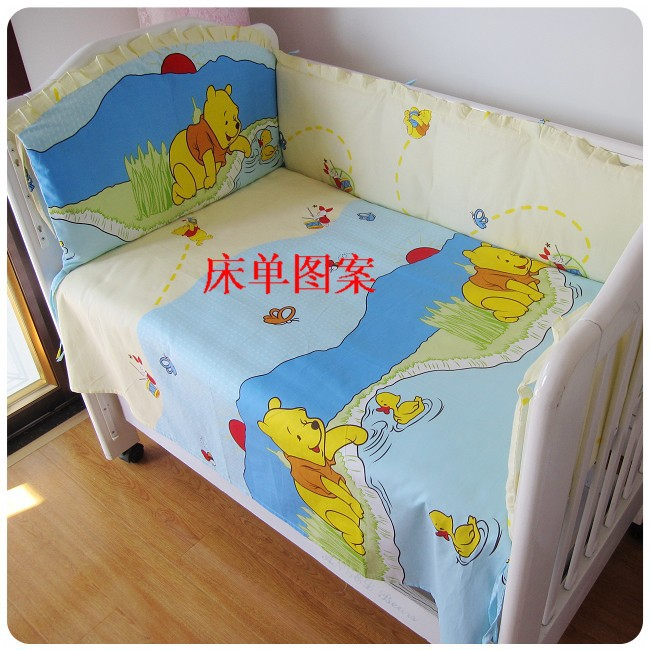 Promotion! 6PCS Bear nursery bedding character crib bedding set cotton baby bedclothes (bumper+sheet+pillow cover)