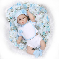 Nicery 19inch 43 48cm Bebe Doll Reborn Soft Silicone Boy Girl Toy Reborn Baby Doll Gift for Children Present Blue Flowers Lovely