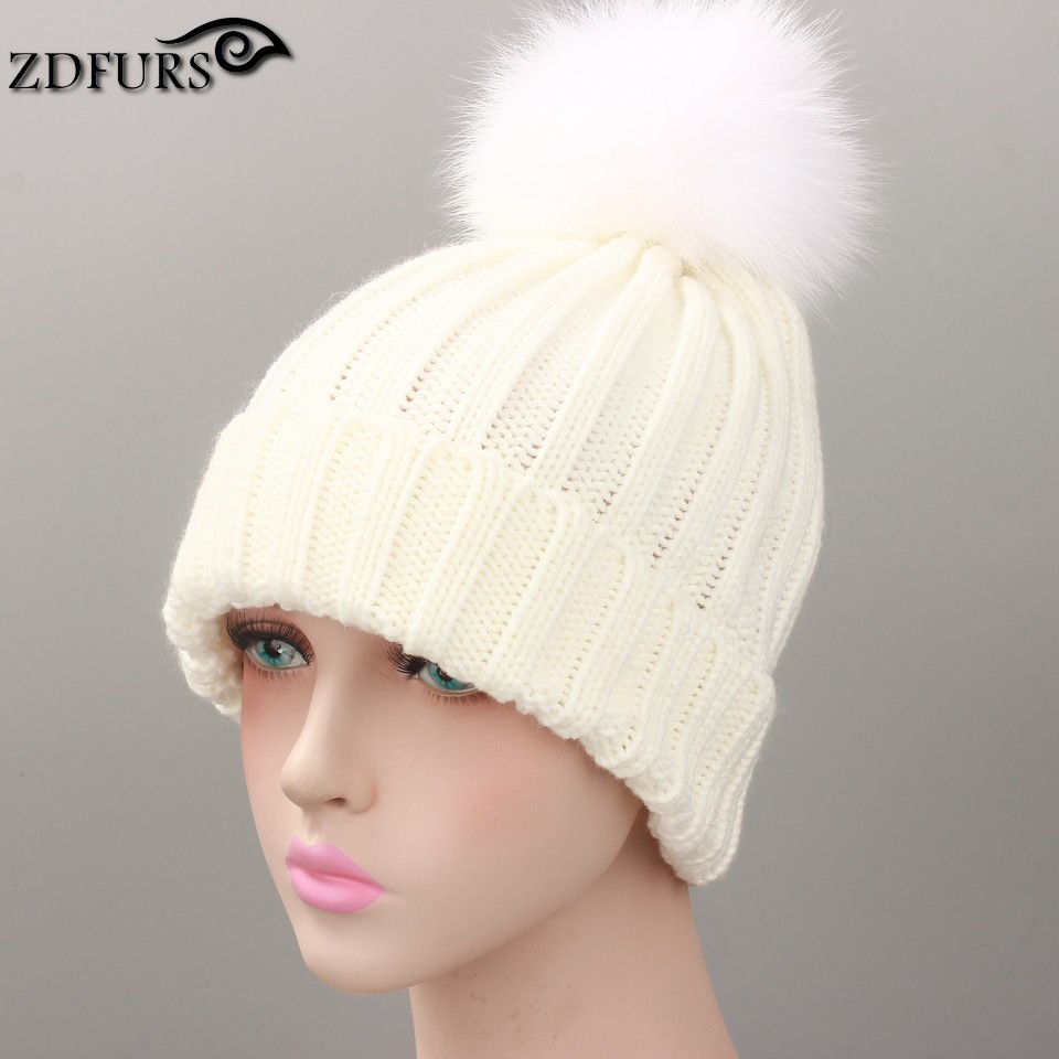 59dff6aabb1720 fox fur ball cap pom poms winter hat for women girl 's wool hat ...