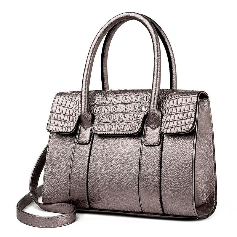 2018 New Embossed Crocodile Pattern Female Top Handle Handbag Luxury Female Fashion Black Hands Bags Bolsas Feminina Tote Bag