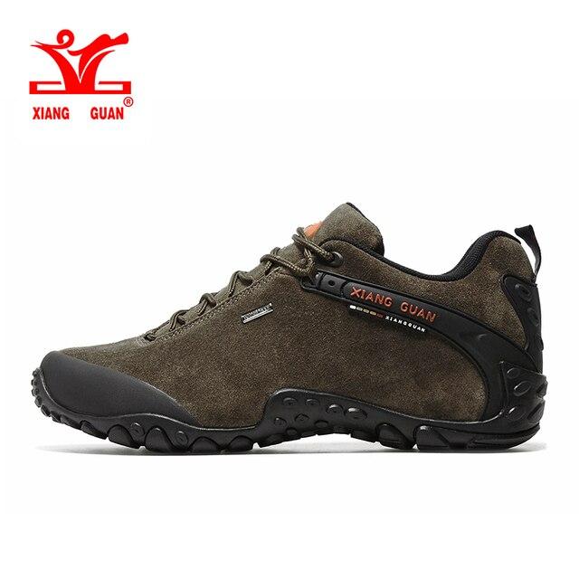 XIANGGUAN Men Hiking Shoes Waterproof Climbing Sneakers Man Mountain Boot Water proof Suede Leather Rubber Green Brown Black