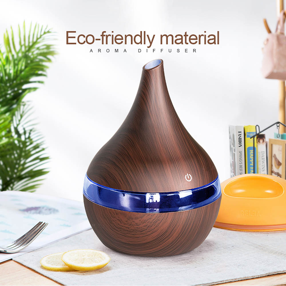 300ml Electric Ultrasonic Air Humidifier USB Electric Aroma Air Diffuser Wood Essential Oil Aromatherapy Cool Mist Maker