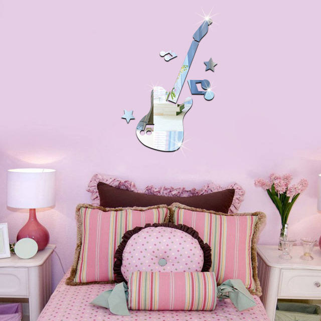 25x34cm 3D guitar pattern mirror stickers baby room living room ...