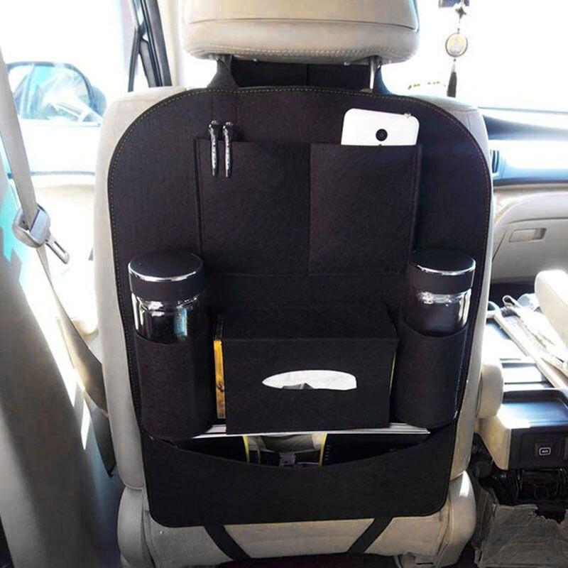 ใหม่ Auto Car Seat Back กระเป๋าสตางค์แบบ Multi-Pocket Organizer ผู้ถืออุปกรณ์เสริมสีดำ