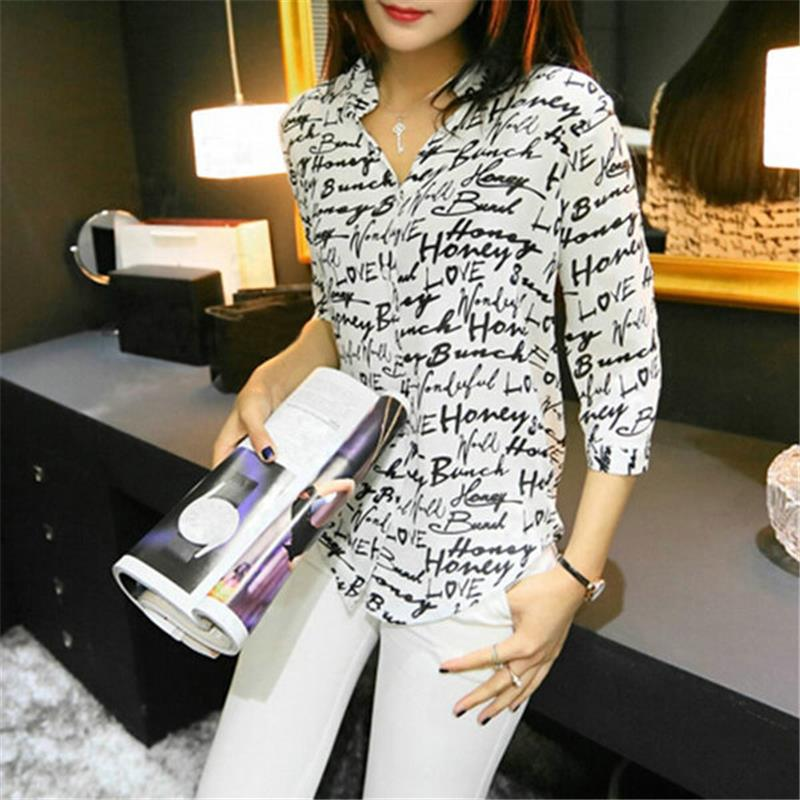 Letter Print Blouse Chiffon Shirt Short Sleeve Button Down Tops Tees