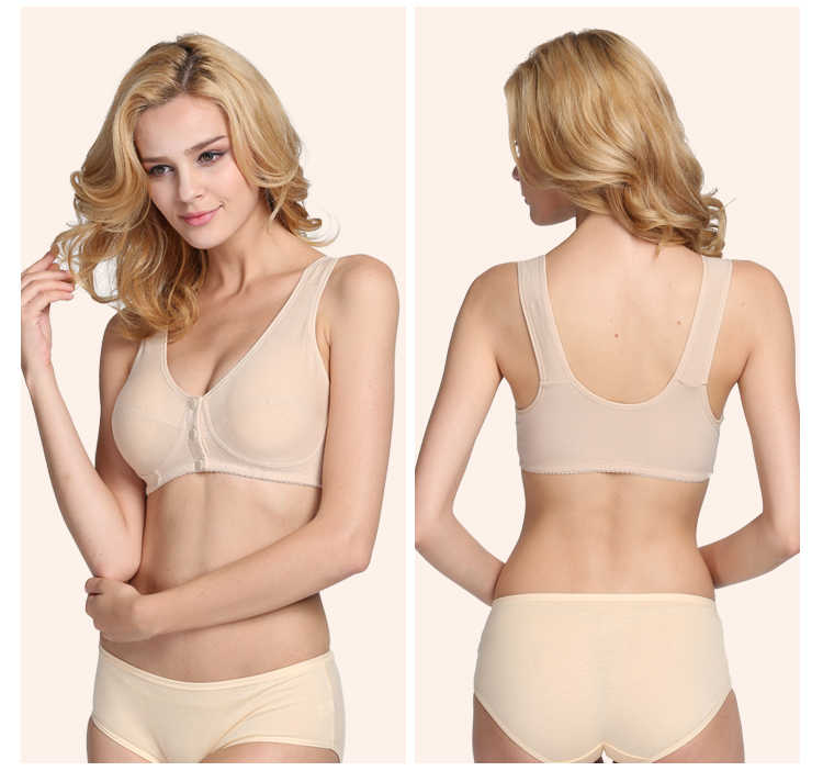 1bd4a0a884afc Mom underwear middle-aged bra without rims vest-style thin section front  buckle cotton