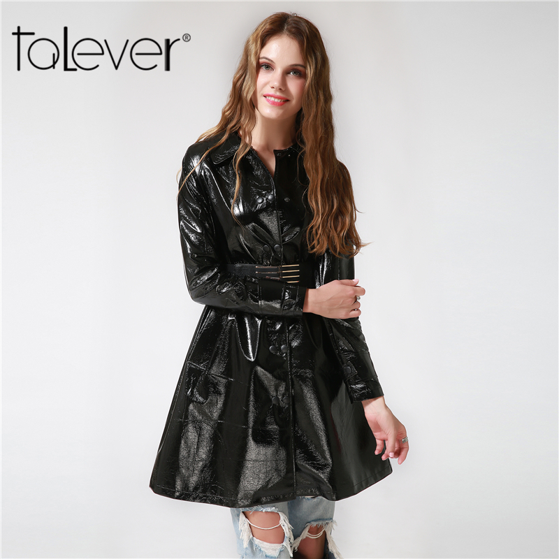 Women's Clothing Plus Size Woman Double Breasted Leather Jacket Female Pu Leather Trench Coat Belt Suede Overcoat Long Black Red 4xl 5xl New Varieties Are Introduced One After Another Jackets & Coats