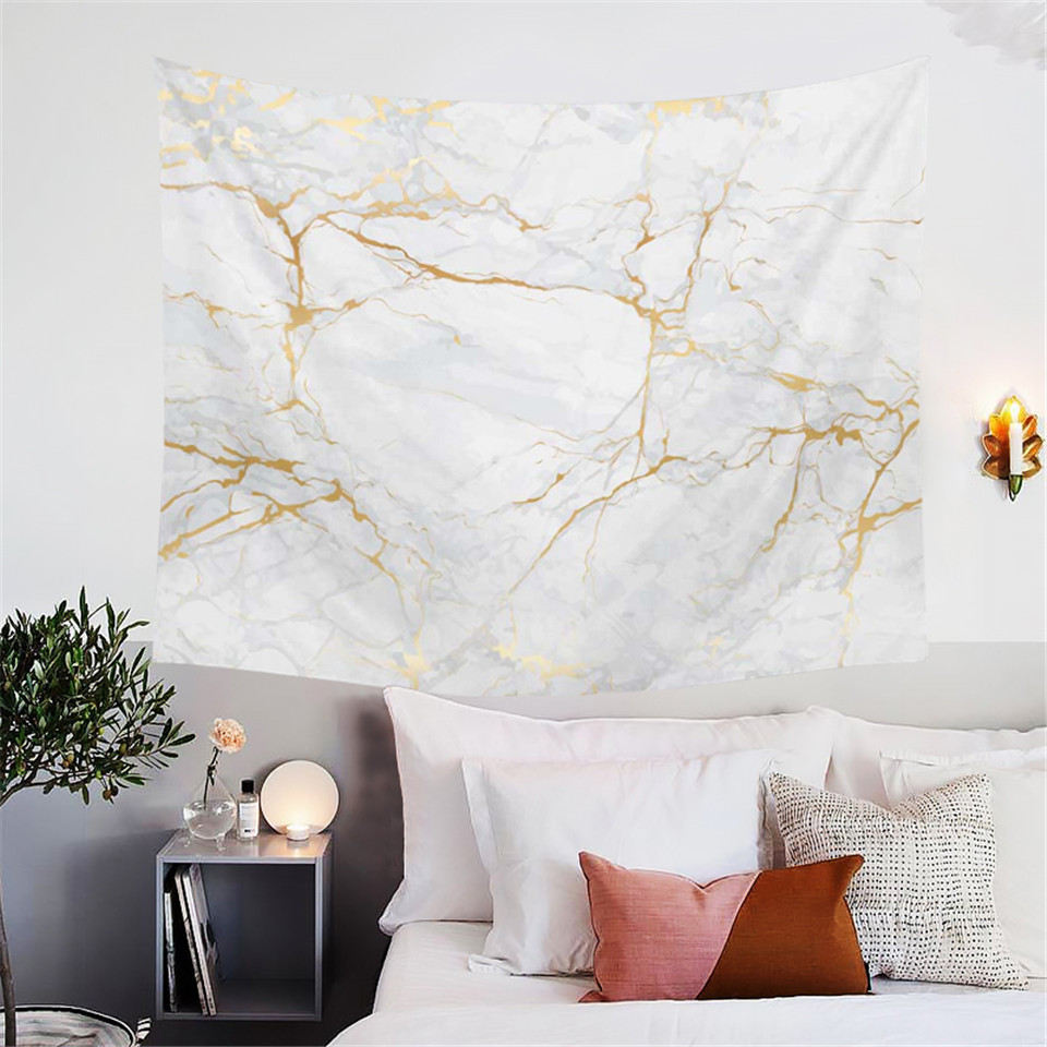 Blessliving Gold And White Marble Tapestry 3d Nature Rock