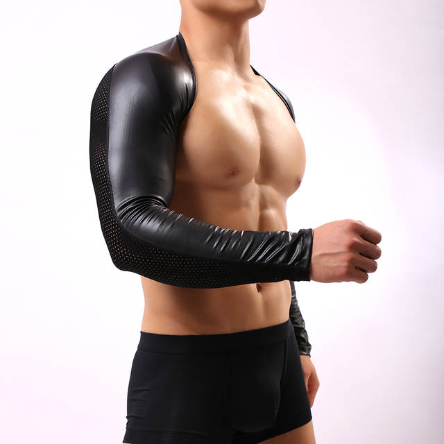 ff0634e8d31041 Fashion Black Faux Leather Man Funny Mesh Crop Tops Gay Sexy Nylon Spandex  Long Sleeves