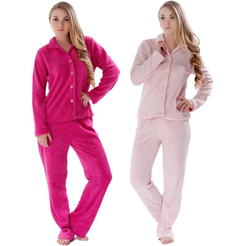 Women 2015 Winter Warm Plus Size Coral Fleece Pink Red Pyjama Sleepwear Suit Homewear Pajama Set For Ladies