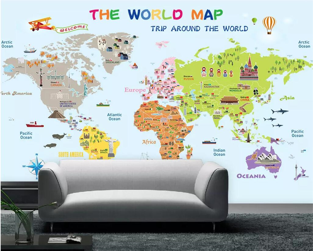 Beibehang Wallpaper Custom 3D Personality Cartoon World Map Photo Kids Room Bedroom Wallpaper Background Mural Wallpaper