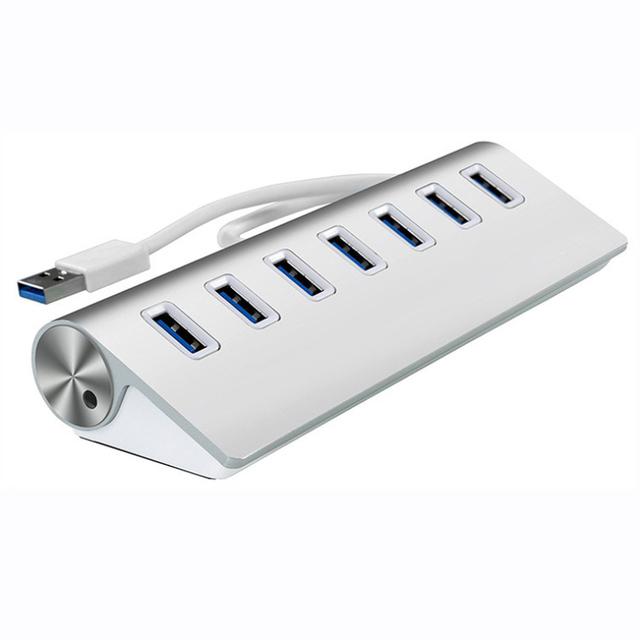 Hot-venda Branco Alumínio 7 Portas USB3.0 HUB de Alta Velocidade Pro Mac Para PC Laptop Tablet Para Macbook Adaptador de Computador 1 pc