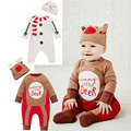 New Style Chrismas Unisex Baby Clothing Cute Design Baby Long Sleeve Romper +Hat 2 Pcs Suit Best Present For Baby Rope De Bebe