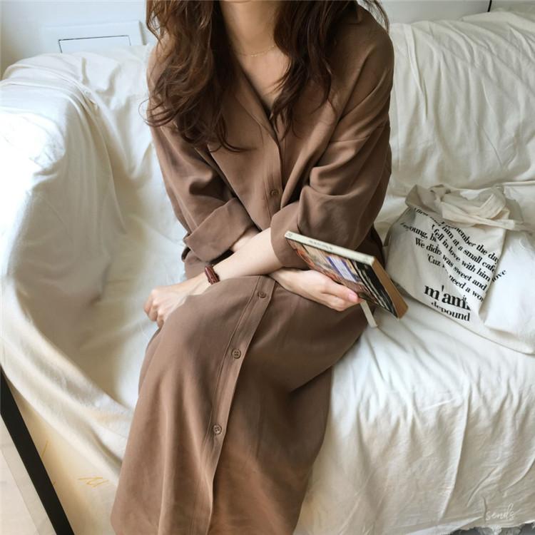 19 spring Autumn fashion female batwing sleeve solid shirt dress women blouses casual loose long big size shirts blusas 6