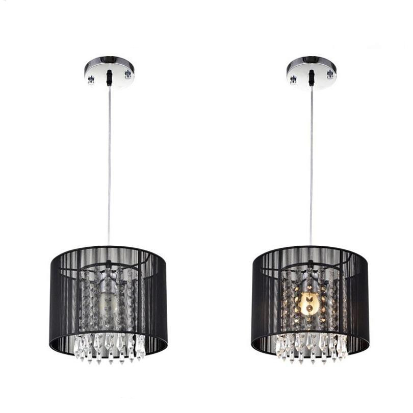 Modern Black Silver Brushed chandelier led lamps LED Crystal Chandeliers living room lamps led lustre lighting